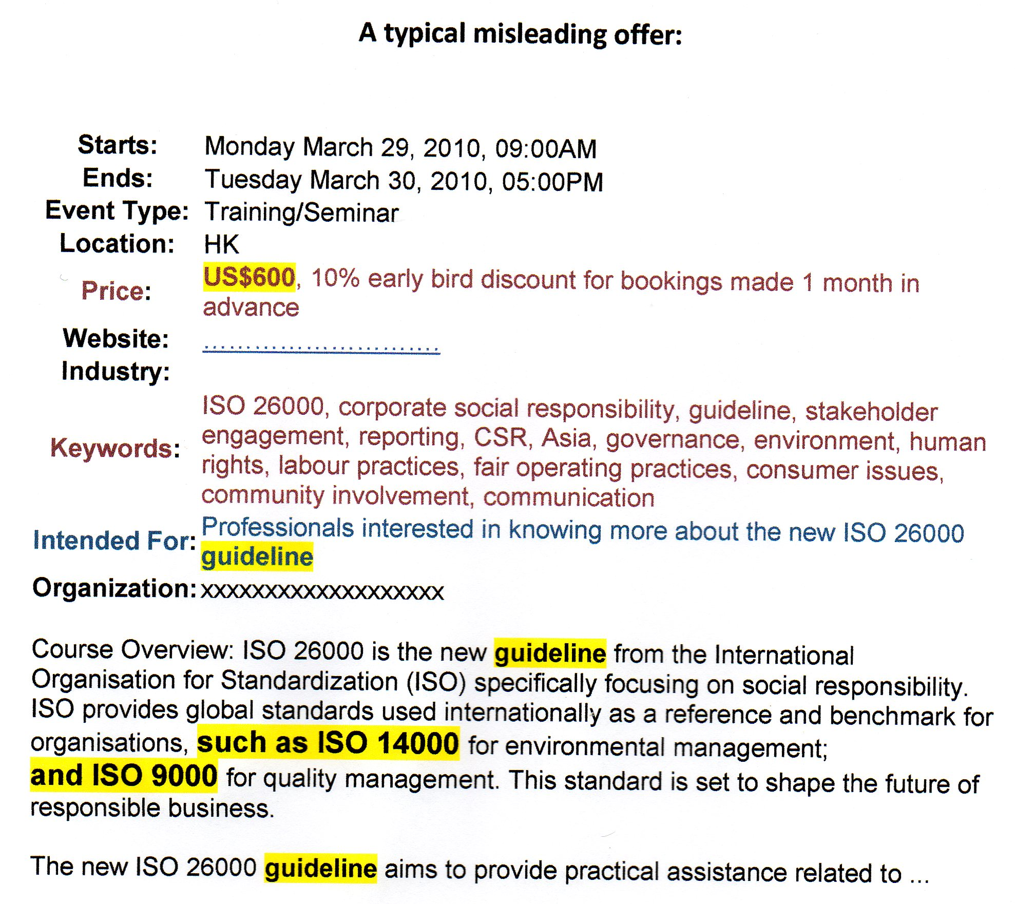 csr asia misleading text